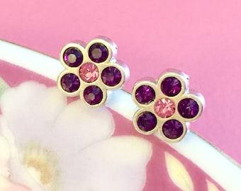 Rhinestone Earrings, Rhinestone Flower Earrings, Rhinestone Flower Studs, Purple Flower Earrings, Pink Flower Earrings, (TS9)