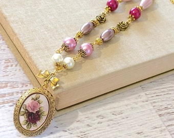 Long Beaded Vintage Assemblage Necklace, Floral Limoges on Mirrored Glass in Pink Purple and Red with Gold Toned Accents