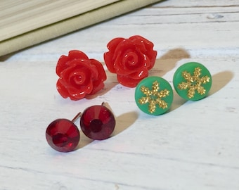 Stud Earring Set, Christmas Gift Set, Christmas Earrings, Christmas Studs, Green Gold Snowflake Studs, Red Rose Studs, Rhinestone Studs