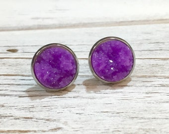 Purple Druzy Set in Silver Toned Tray with Surgical Steel Posts, Lightweight Resin Stud Earrings (SE5)