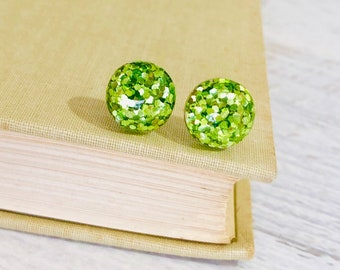 Fun Sparkling Glitter Resin Light Green Sparkly Stud Earrings with Surgical Steel Posts for St. Patrick's Day (SE14)
