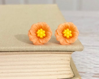 Peach Poppy Heavily Carved and Detailed Flower Stud Earrings with Surgical Steel Posts (SE10)