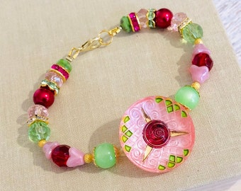Czech Glass Flower Button Beaded Bracelet in Pink, Lime Green, Red and Gold Tones with Moonglow, Pearls and Rhinestones