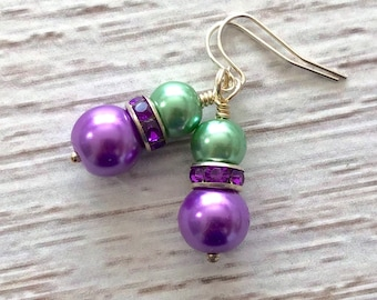 Glass Pearl and Rhinestone Short Dangle Earrings in Mardi Gras Green and Purple with Surgical Steel Ear Wires (DE3)