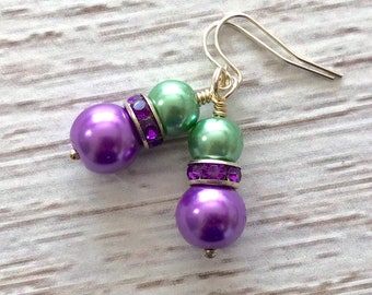 Glass Pearl and Rhinestone Short Dangle Earrings in Mardi Gras Green and Purple with Surgical Steel Ear Wires
