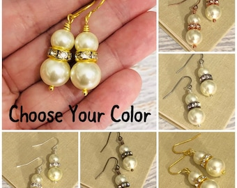 Champagne Pearl and Rhinestone Glass Beaded Dangle Earrings - Choose Your Metal Finish Color - Surgical Steel Ear Wires