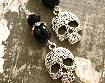 Skull Earrngs, Fancy Tibetan Silver Sugar Skull Earrings, Long Gothic Earrings, Day of Dead Earring, Halloween Jewelry, KreatedByKelly (DE2)