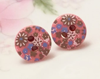 Blue, White and Green Field of Flowers on Vintage Pink Sewing Buttons, Stud Earrings with Surgical Steel Posts