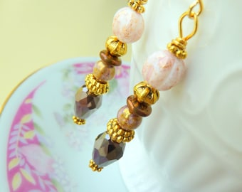 Czech Glass Earrings, Romantic Pink Brown Beaded Dangle Earrings With Gold Toned Accents and Surgical Steel Ear Wires