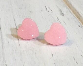 Pink Heart Studs, Sparkle Heart Studs, Kawaii Studs, Sugar Coated Candy Heart Studs, Little Heart Studs, Valentine's Day Studs (SE4)