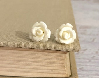 Small Off White Carved Icing Rose Flower Stud Earrings with Surgical Steel Posts (SE10)