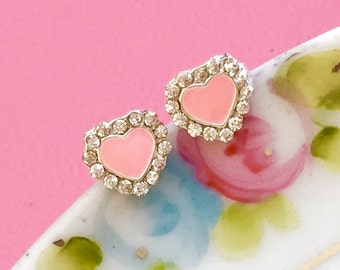 Tiny Heart Earrings, Bridal Rhinestone Earrings, Pink Rhinestone Earrings, Valentine's Day Gift For Her, Small Studs Handmade KreatedByKelly