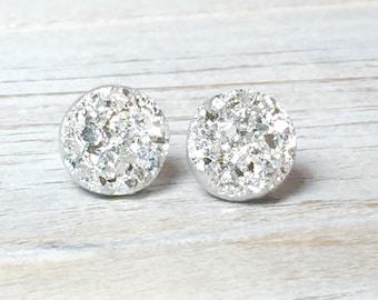 Silver Druzy Studs, Sparkling Silver Studs, Silver Stud Earring, Silver Drusy Stud, Druzy Jewelry, Surgical Steel Stud, KreatedByKelly (SE2)