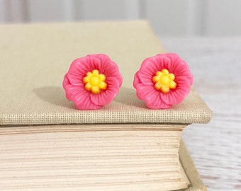 Pink Poppy Heavily Carved and Detailed Flower Stud Earrings with Surgical Steel Posts (SE10)