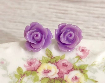 Small Lavender Purple Carved Icing Rose Stud Earrings with Surgical Steel Posts (SE10)