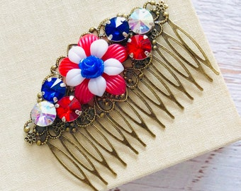 Red White and Blue Rhinestone Flower Hair Comb for 4th of July Independence Day, Patriotic USA Hair Accessory