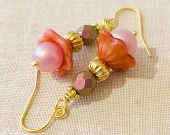 Czech Glass Flower Beaded Earrings in Romantic Peach and Brown with Gold Toned Accents and Surgical Steel Ear Wires (DE4)