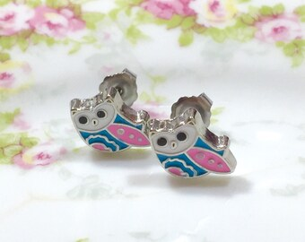 Pastel Owl Stud Earrings, Enameled Metal Studs, Tiny Bird Studs, Tiny Owl Studs, Pink Owl Studs, Enamel Jewelry, KreatedByKelly