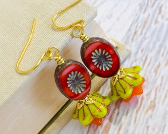Czech Glass Flower Beaded Earrings in Lime Green, Red and Orange with Gold Toned Accents and Surgical Steel Ear Wires (DE4)
