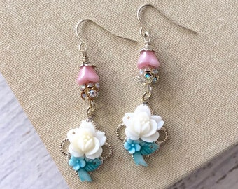 Vintage Assemblage Earrings with White Rose, Pink Czech Glass Flower Beads and Sparkling Rhinestones, Surgical Steel Ear Wires