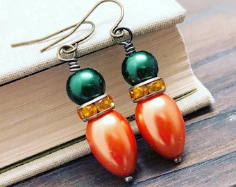 Fall Inspired Glass Pearl and Rhinestone Dangle Earrings in Pumpkin Orange, Yellow and Green with Surgical Steel Ear Wires (DE4)