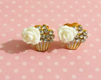 Whimsical Rhinestone Flower Cupcake Stud Earrings with Surgical Steel Posts (SE22)