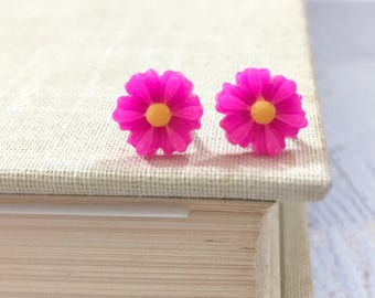 Little Bright Pink Gerbera Daisy Stud Earring, Surgical Steel Posts, Small Carved Spring Easter Daisies for Flower Girls and Weddings (SE18)