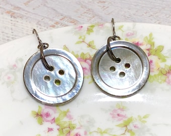 Repurposed Shimmering Iridescent Vintage Gray Mother of Pearl Button Earrings with Surgical Steel Ear Wires