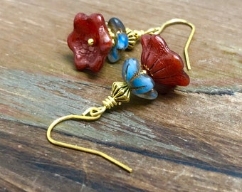 Czech Glass Flower Earrings in Blue and Dark Red with Gold Toned Findings, Short Floral Earrings, Surgical Steel (DE4)