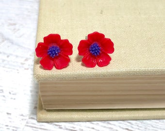 Red Petals and Blue Center Cherry Blossom Sakura Flower Stud Earrings with Surgical Steel Posts (SE13)