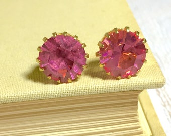Big Chunky Pink Glass Rhinestones Set in Brass Estate Style Stud Earrings