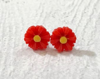 Little Red Gerbera Daisy Stud Earrings with Surgical Steel Posts, Small Carved Spring Easter Daisies for Flower Girls and Weddings (SE18)