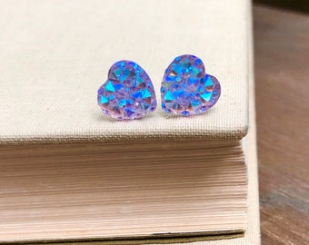 Little Valentine's Day Heart Stud Earrings in Sparkling Lavender with Surgical Steel Posts (SE11)