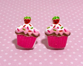 Bright Pink Cupcake Studs with Sprinkles and a Strawberry on Top, Large Fun Novelty Food Earrings with Surgical Steel Posts