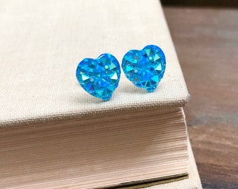 Little Valentine's Day Heart Stud Earrings in Sparkling Aqua Blue with Surgical Steel Posts (SE11)