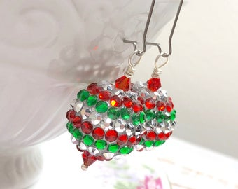 Chunky Red Green and Silver Sparkling Rhinestone Studded Ball Christmas Ornament Style Earrings with Kidney Surgical Steel Ear Wires