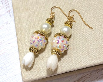 Beige Sparkly Pearl Tulip Flower Vintage Estate Style Earrings with Surgical Steel Ear Wires