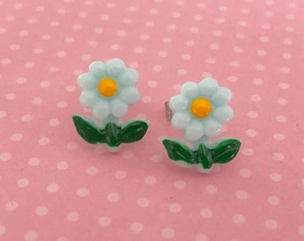 Whimsical Detailed Aqua Daisy Flower Stud Earrings with Perky Green Leaves, Surgical Steel