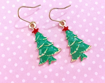 Shiny Green and Gold Christmas Tree Topped with Red Star Enamel Earrings, Surgical Steel