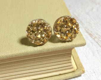 Gold Druzy Studs, Sparkling Gold Studs, Gold Stud Earring, Gold Drusy Stud, Druzy Jewelry, Surgical Steel Stud, KreatedByKelly (SE9)