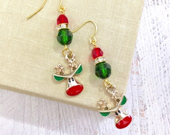 Rudolph the Red Nosed Reindeer Rhinestone Christmas Dangle Earrings in Red Green, Surgical Steel Ear Wires