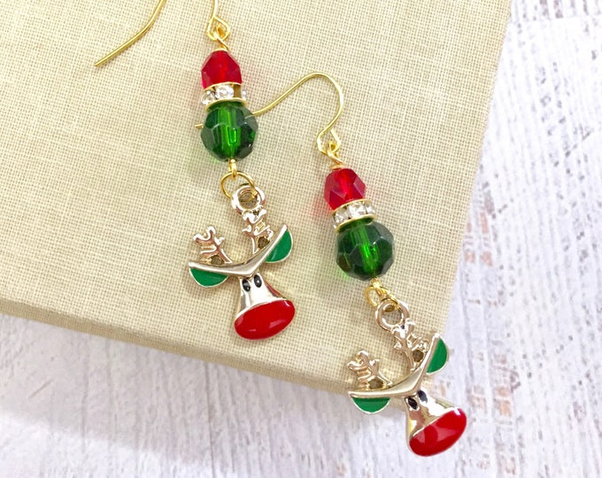 Featured listing image: Rudolph the Red Nosed Reindeer Rhinestone Christmas Dangle Earrings in Red Green, Surgical Steel Ear Wires