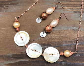 Antique Mother of Pearl Button Necklace and Earring Set with Copper Wire Stitching and Mixed Metal Findings