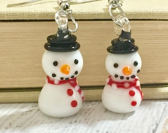 Cute Lampwork Glass Snowman Earrings for Christmas Holiday or Winter