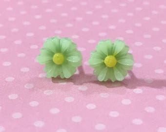 Little Mint Green Gerbera Daisy Stud Earrings, Surgical Steel Posts, Small Carved Spring Easter Daisies for Flower Girls and Weddings (SE18)