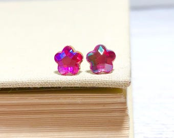 Sparkling Little Pink Resin Rhinestone Star Daisy Flower Stud Earrings with Surgical Steel Posts (SE19)