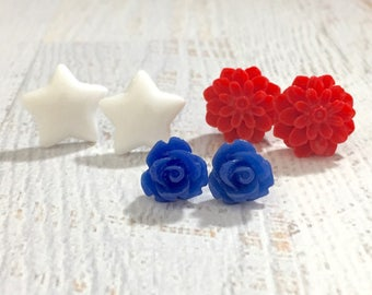 USA Patriotic Stud Earring Set with Red Mum, Blue Rose, and White Stars, Surgical Steel Posts
