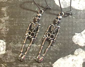 Cute Creepy Silver Toned Human Anatomy Skeleton Dangle Charm Halloween Earrings with Surgical Steel Kidney Ear Wires