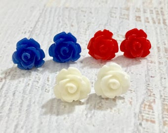 Independence Day Icing Rose Stud Earring Set in Red White and Blue with Surgical Steel Posts