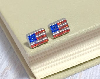 Tiny Little Patriotic Red White and Blue Rhinestone Studded United States Flag Stud Earrings for 4th of July